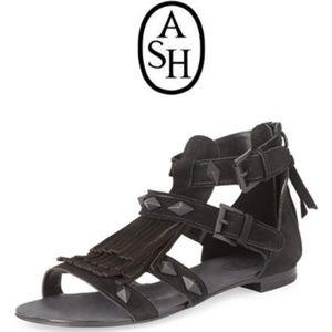 ASH mascara fringe suede flat sandals size 41